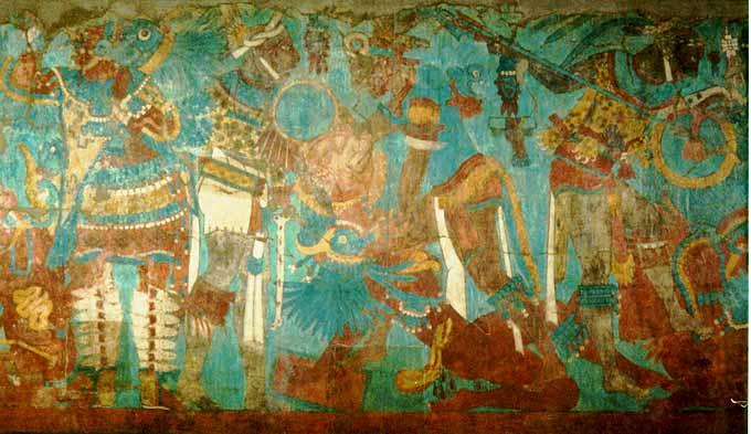 Cacaxtla battle mural 3 detail for Siege mural rabattable